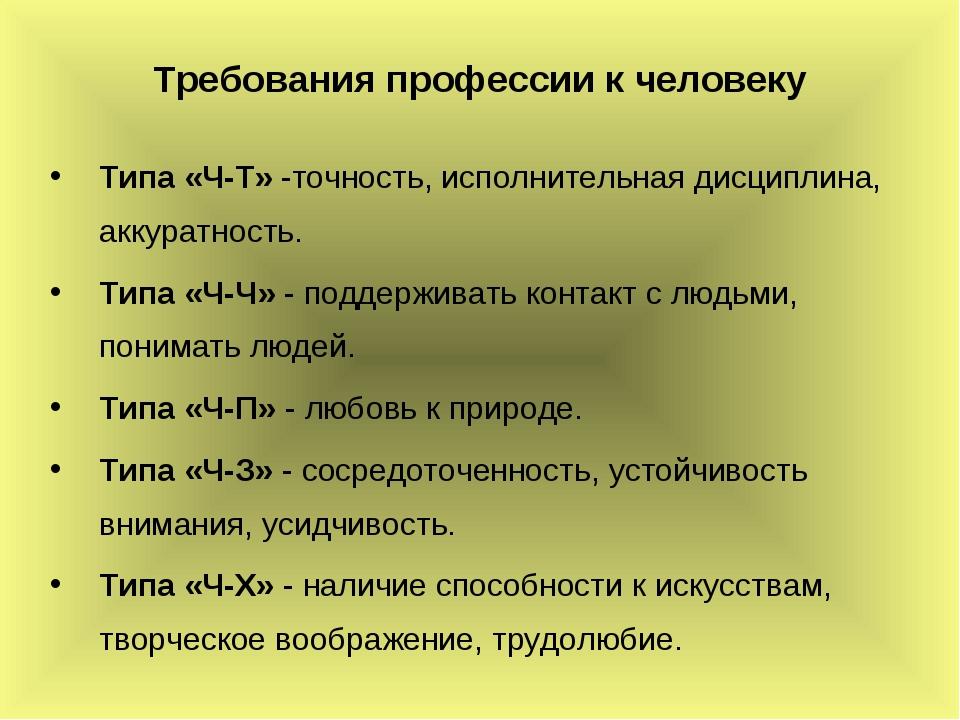 Требования профессии к человеку Типа «Ч-Т» -точность, исполнительная дисципли...