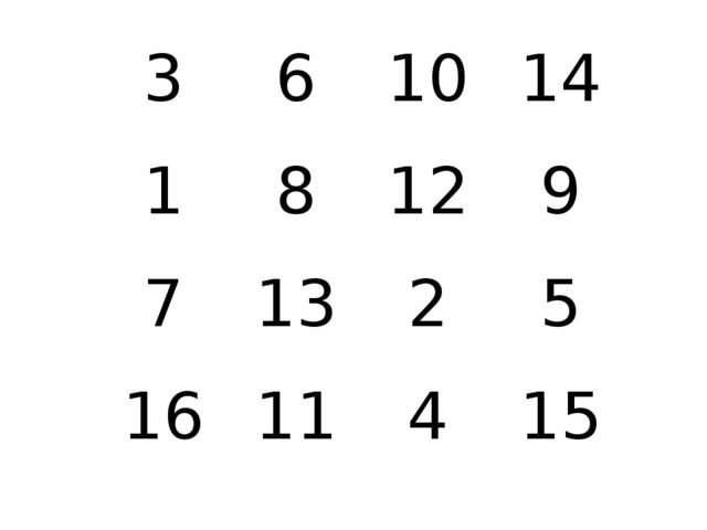 3 6 10 14 1 8 12 9 7 13 2 5 16 11 4 15