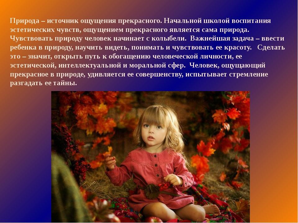 Природа – источник ощущения прекрасного. Начальной школой воспитания эстетиче...