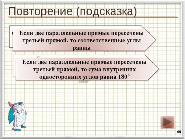 Повторение (подсказка) * Сформулируйте свойство параллельных прямых относител...
