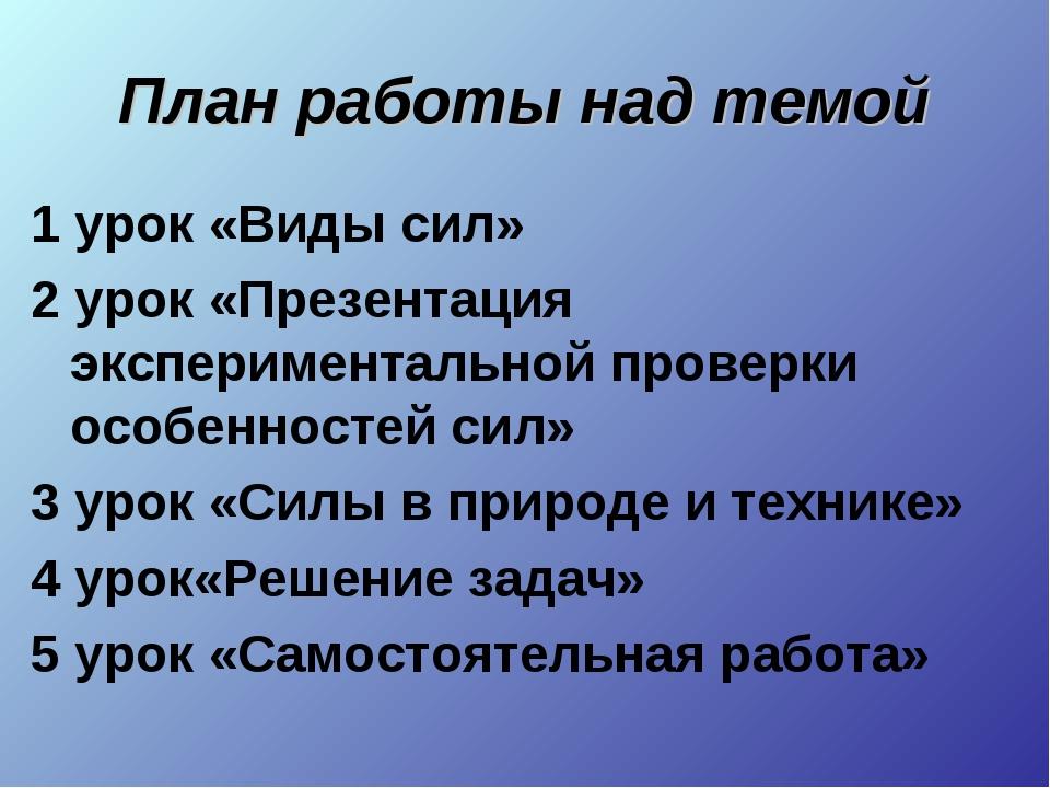 План работы над темой 1 урок «Виды сил» 2 урок «Презентация экспериментальной...