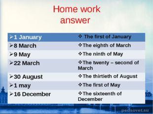 Home work answer 1 January  The first of January 8 MarchThe eighth of March