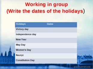 Working in group (Write the dates of the holidays) Holidays Dates Victory da