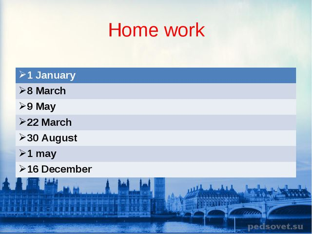 Home work 1 January  8 March 9 May 22 March  30 August 1 may 16 Decembe...