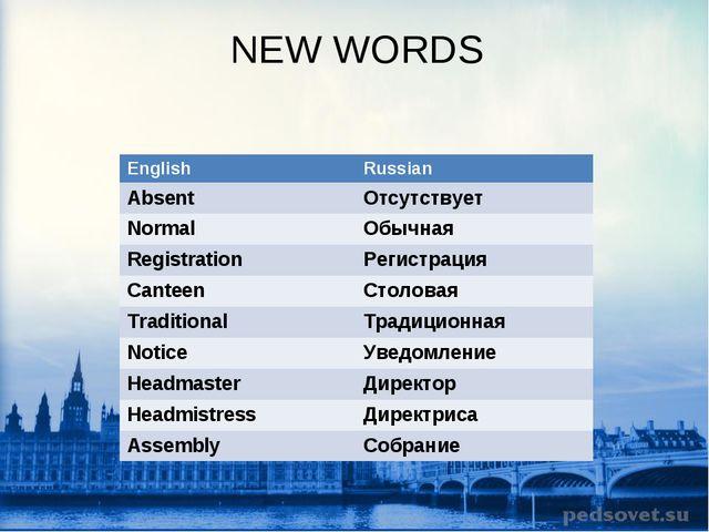 NEW WORDS EnglishRussian AbsentОтсутствует NormalОбычная RegistrationРеги...