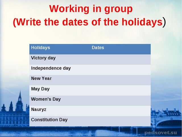 Working in group (Write the dates of the holidays) Holidays Dates Victory da...