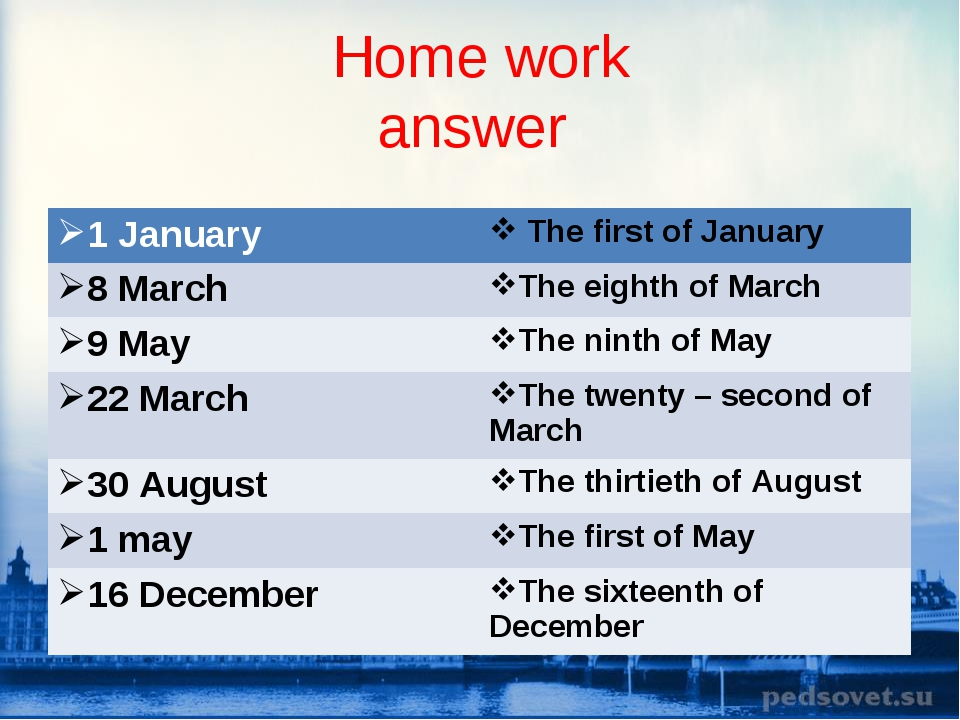 Home work answer 1 January  The first of January 8 MarchThe eighth of March...