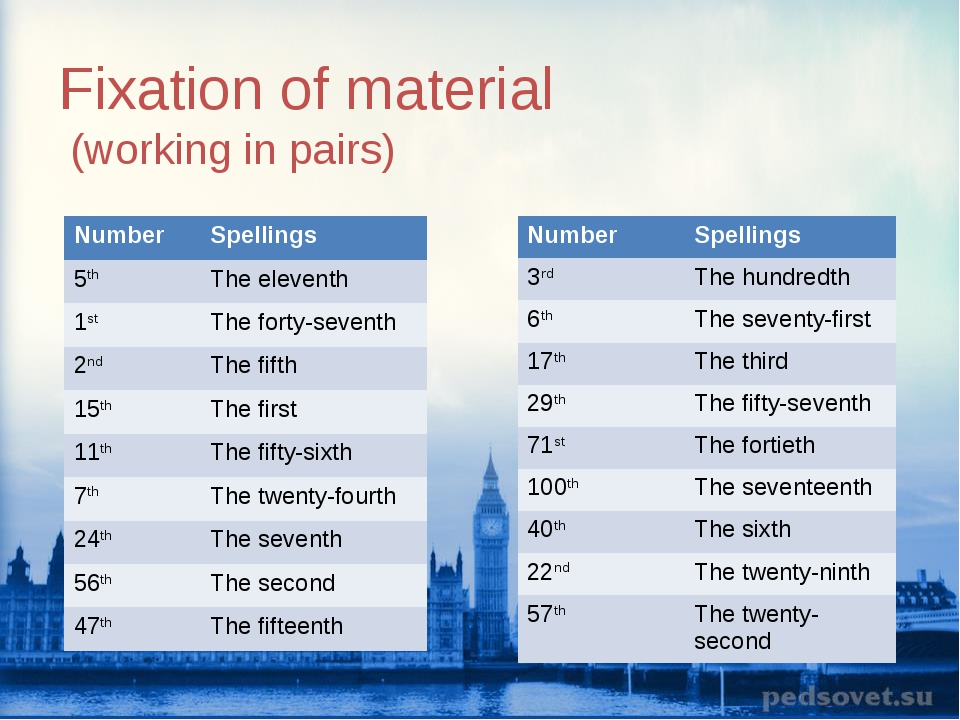 Fixation of material (working in pairs) Number Spellings 5thThe eleventh 1s...