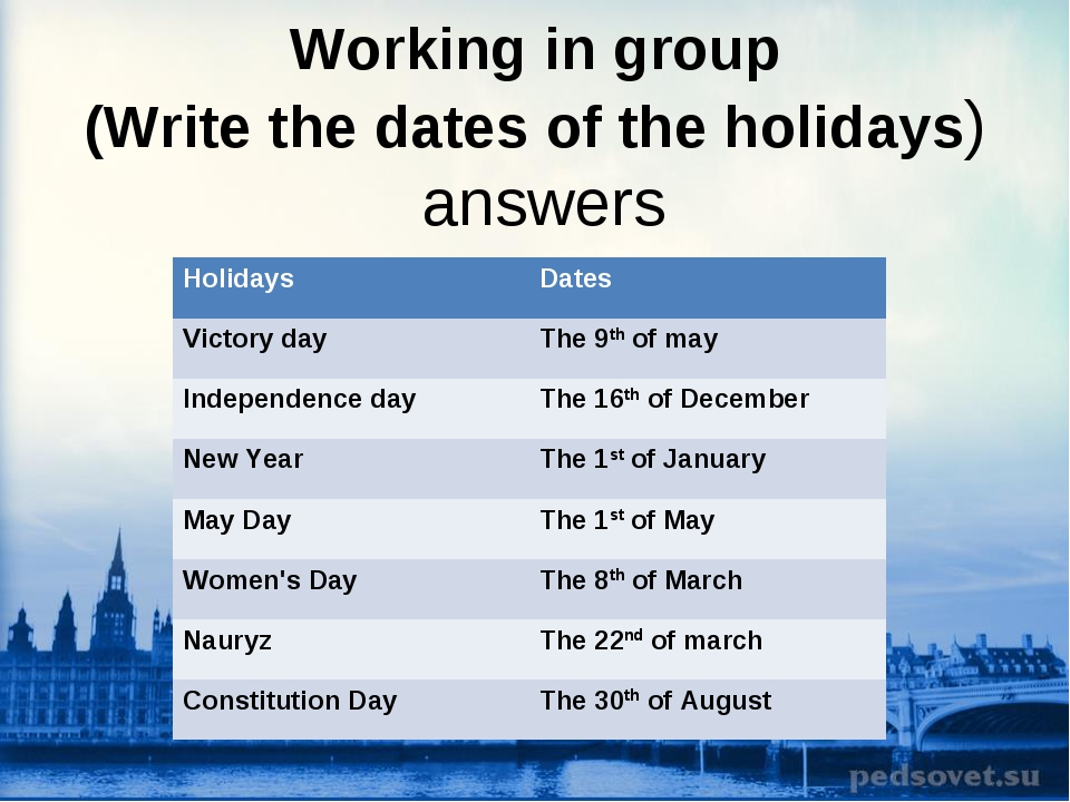 Working in group (Write the dates of the holidays) answers Holidays Dates Vi...