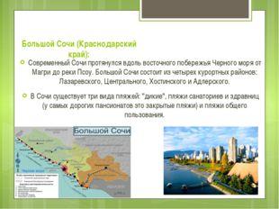 Большой Сочи (Краснодарский край): Современный Сочи протянулся вдоль восточно