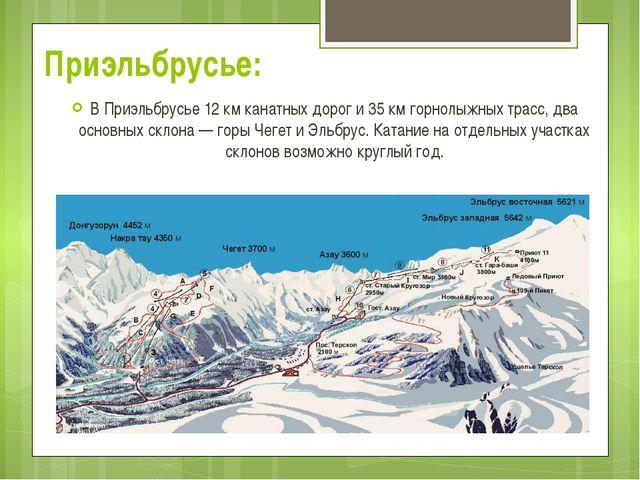 В Приэльбрусье 12 км канатных дорог и 35 км горнолыжных трасс, два основных с...