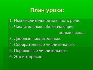 План урока: 1. Имя числительное как часть речи. 2. Числительные, обозначающие