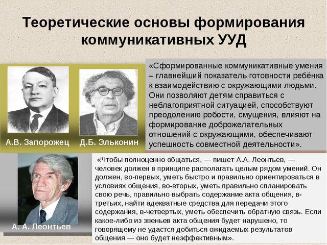 Теоретические основы формирования коммуникативных УУД А.В. Запорожец Д.Б. Эль...
