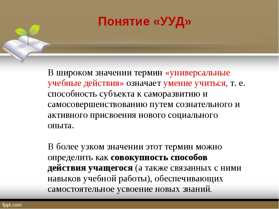 Понятие «УУД» В широком значении термин «универсальные учебные действия» озн...