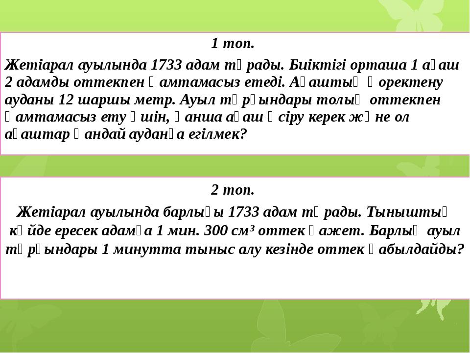 1 топ. Жетіарал ауылында 1733 адам тұрады. Биіктігі орташа 1 ағаш 2 адамды от...