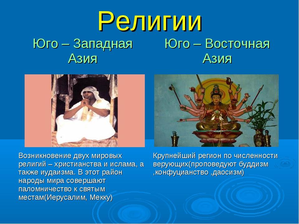 Религии Юго – Западная АзияЮго – Восточная Азия  Возникновение двух мировых...