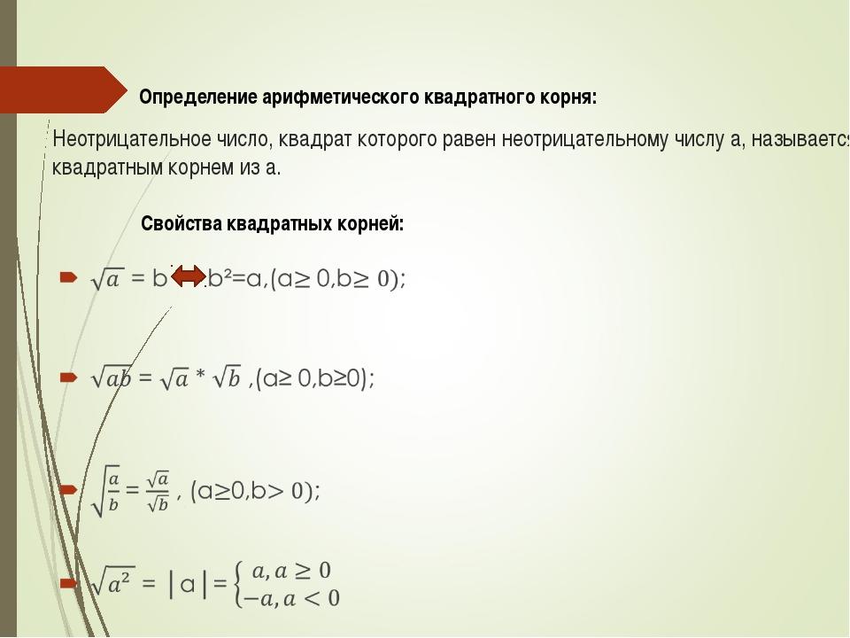 Неотрицательное число, квадрат которого равен неотрицательному числу а, назыв...