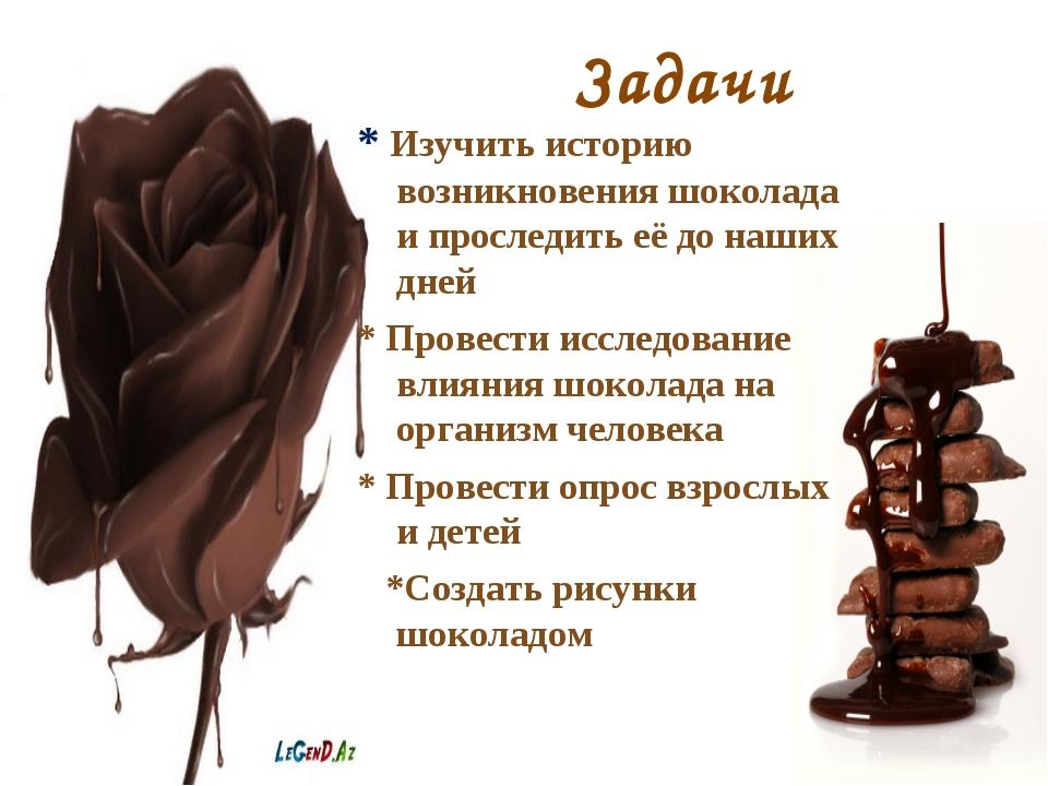 Задачи * Изучить историю возникновения шоколада и проследить её до наших дней...