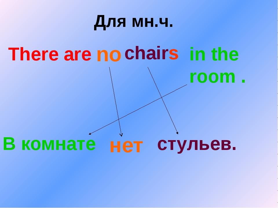 Для мн.ч. There are chairs in the room . В комнате стульев. no нет