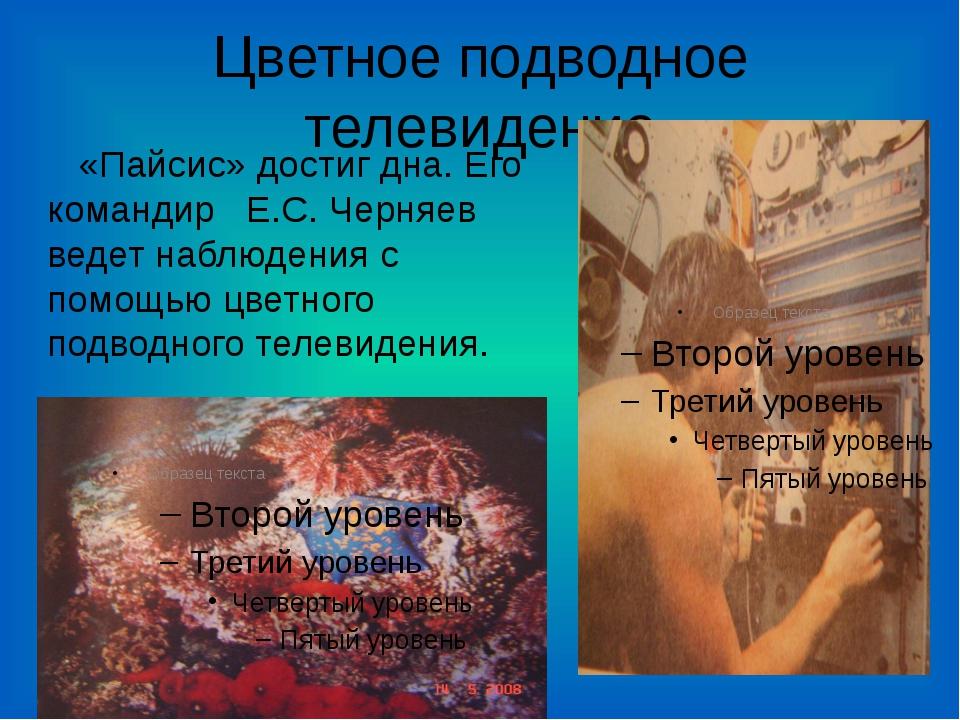 Цветное подводное телевидение «Пайсис» достиг дна. Его командир Е.С. Черняев...