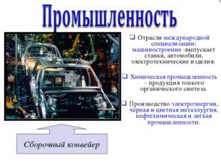 Отрасли международной специализации: машиностроение -выпускает станки, автомо
