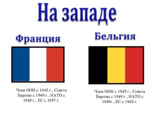 Член ООН с 1945 г., Совета Европы с 1949 г., НАТО с 1949 г., ЕС с 1957 г. Ч