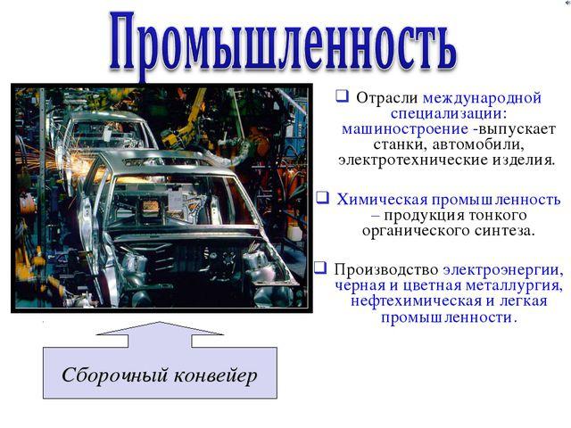 Отрасли международной специализации: машиностроение -выпускает станки, автомо...