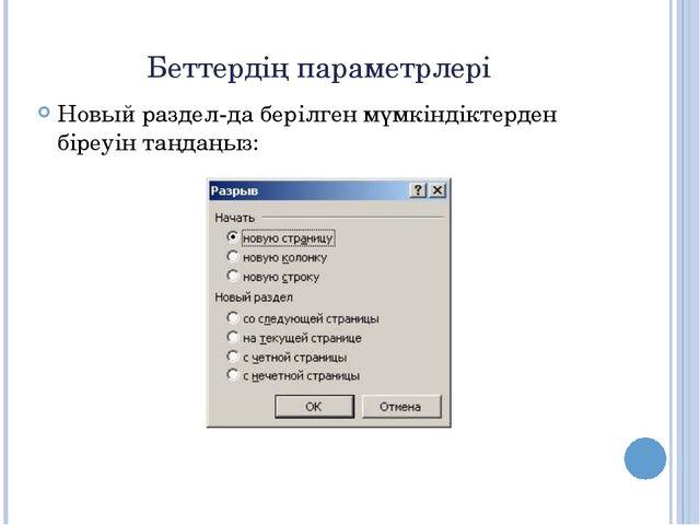 Беттердің параметрлері Новый раздел-да берілген мүмкіндіктерден біреуін таңда...
