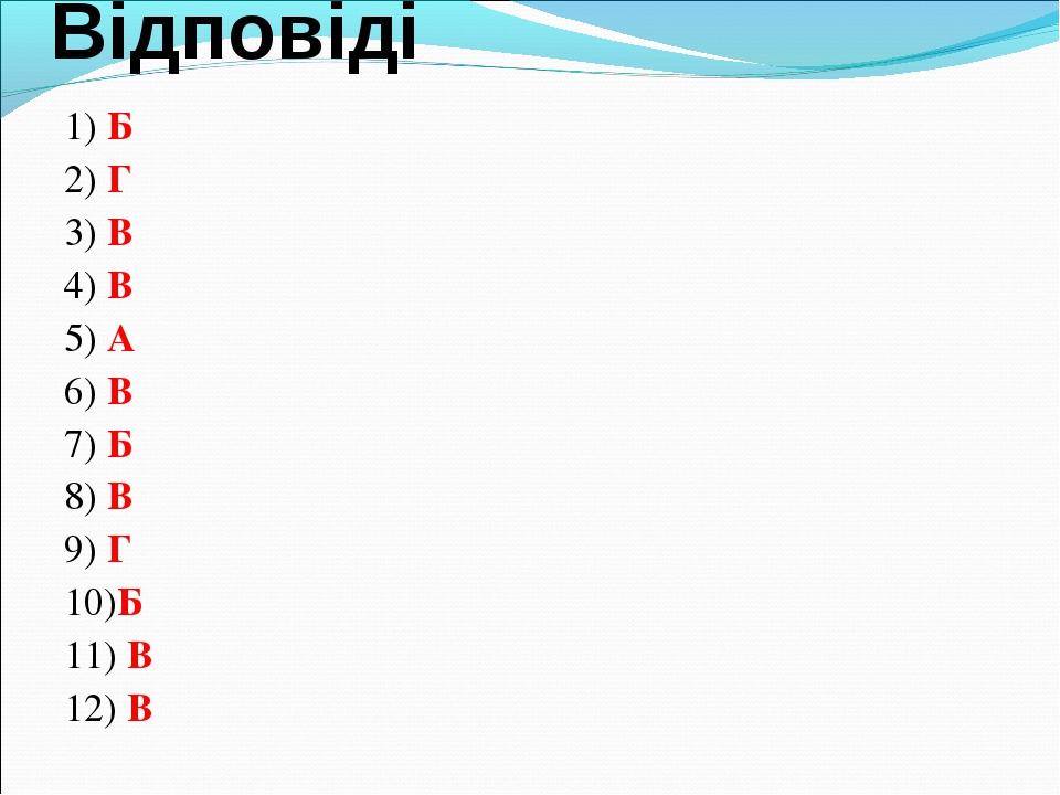 Відповіді 1) Б 2) Г 3) В 4) В 5) А 6) В 7) Б 8) В 9) Г 10)Б 11) В 12) В