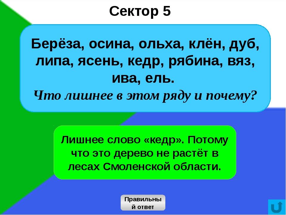 16 Сектор 5 Правильный ответ Лишнее слово «кедр». Потому что это дерево не ра...