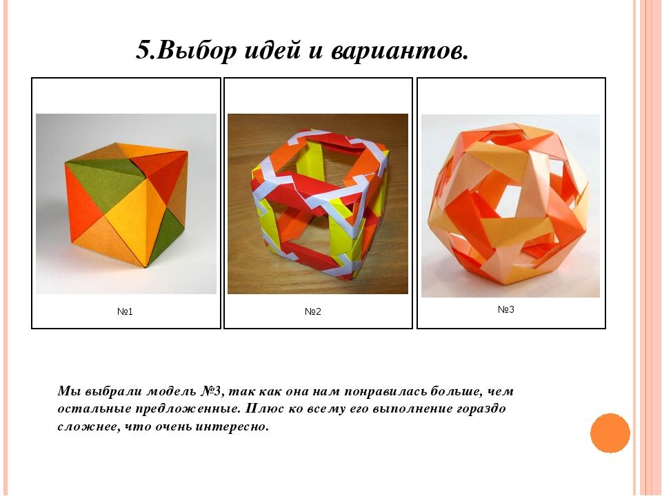 5.Выбор идей и вариантов. Мы выбрали модель №3, так как она нам понравилась б...