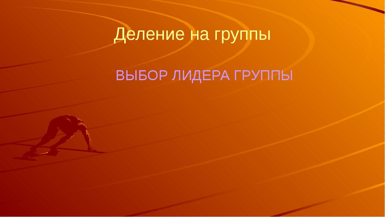 Деление на группы ВЫБОР ЛИДЕРА ГРУППЫ