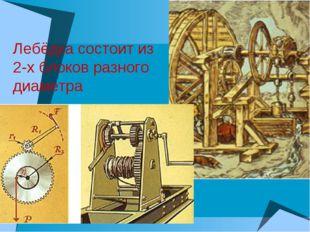 Лебёдка состоит из 2-х блоков разного диаметра