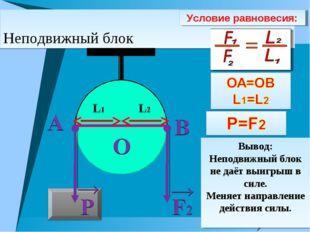 Неподвижный блок Условие равновесия: Вывод: Неподвижный блок не даёт выигрыш