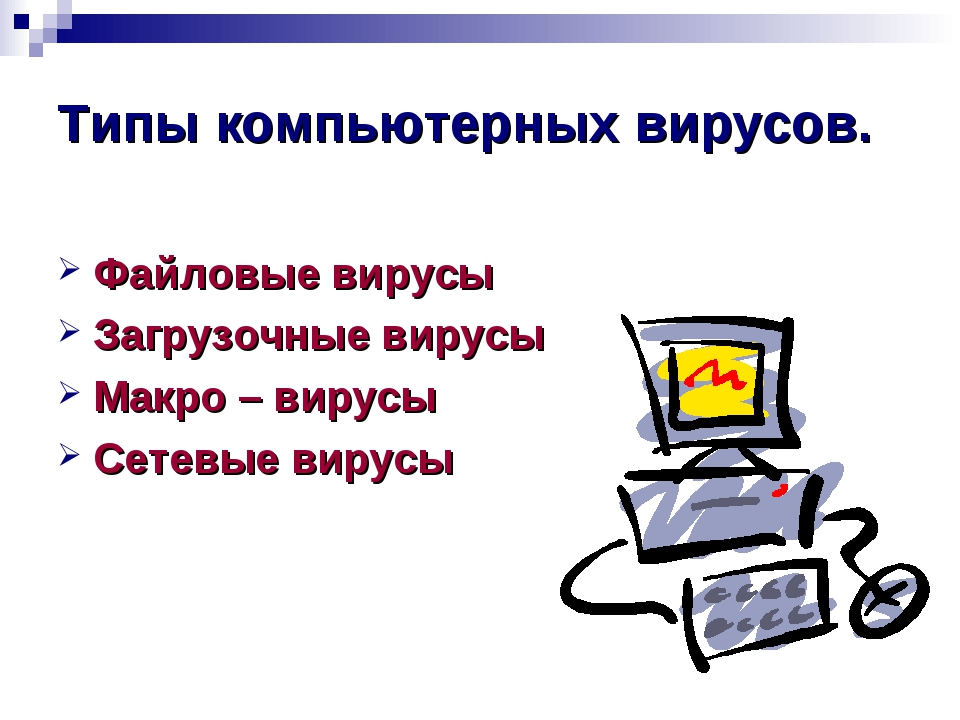 Типы компьютерных вирусов. Файловые вирусы Загрузочные вирусы Макро – вирусы...