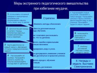 Меры экстренного педагогического вмешательства при избегании неудачи. 1. Испо
