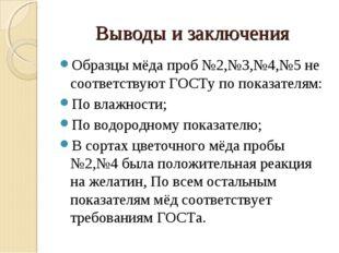 Выводы и заключения Образцы мёда проб №2,№3,№4,№5 не соответствуют ГОСТу по п