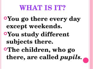 WHAT IS IT? You go there every day except weekends. You study different subje