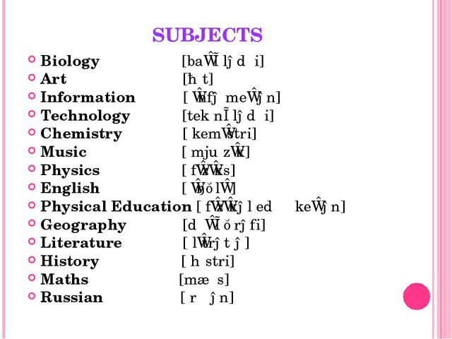 SUBJECTS Biology [baɪˈɒlədʒi] Art [ɑːt] Information [ˌɪnfəˈmeɪʃən] Technology...