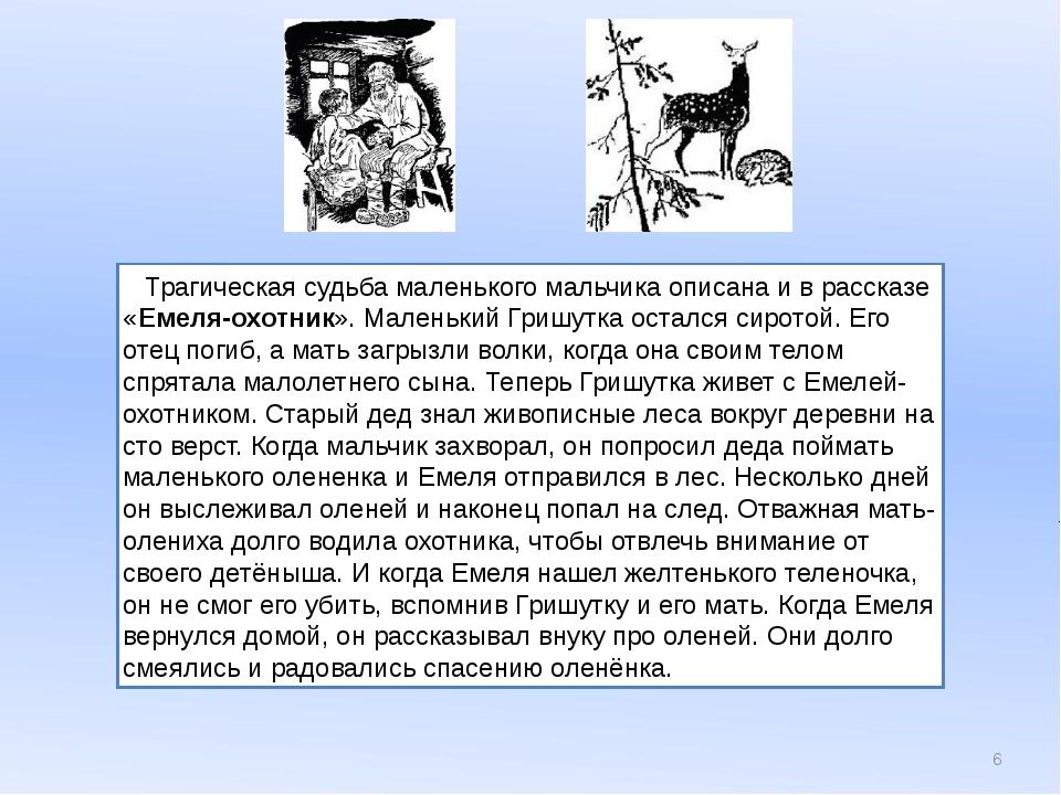 Трагическая судьба маленького мальчика описана и в рассказе «Емеля-охотник»....