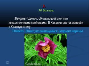 3. 70 баллов. Вопрос: Цветок, обладающий многими лекарственными свойствами. В