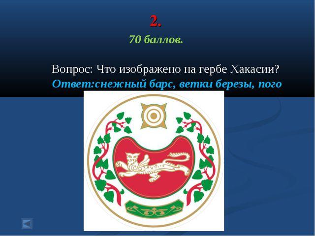 2. 70 баллов. Вопрос: Что изображено на гербе Хакасии? Ответ:снежный барс, ве...