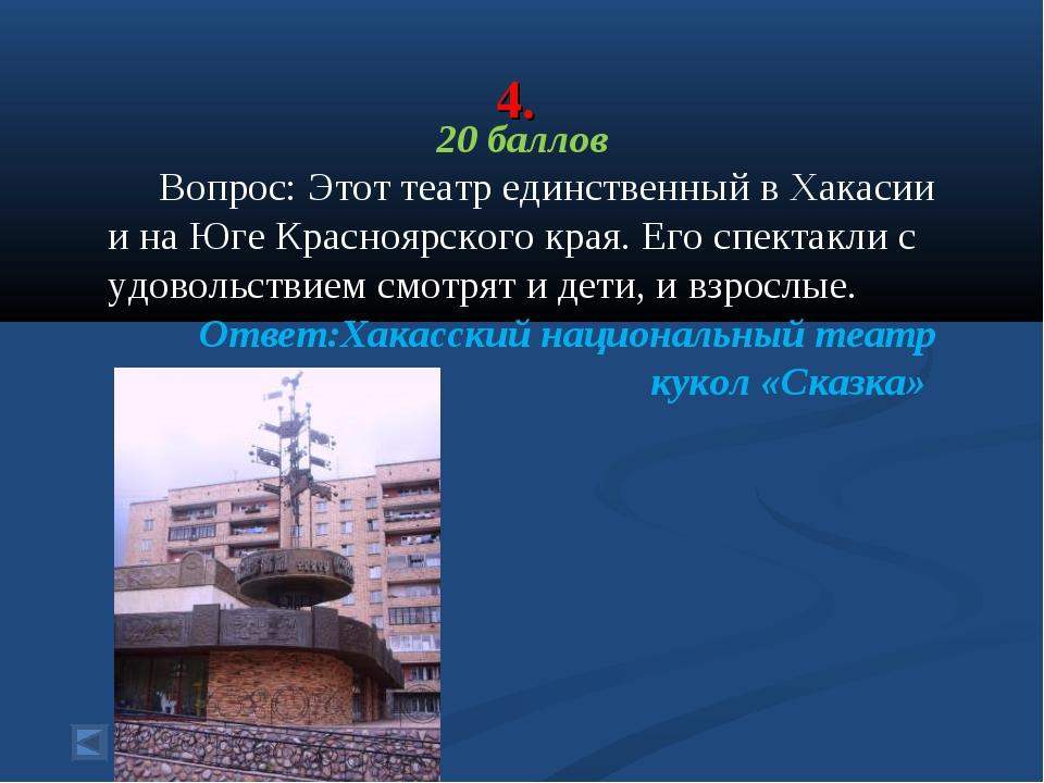 4. 20 баллов Вопрос: Этот театр единственный в Хакасии и на Юге Красноярского...