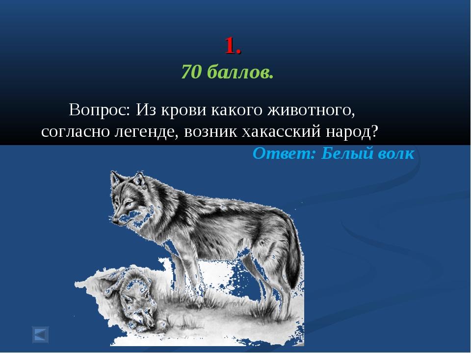 1. 70 баллов. Вопрос: Из крови какого животного, согласно легенде, возник ха...