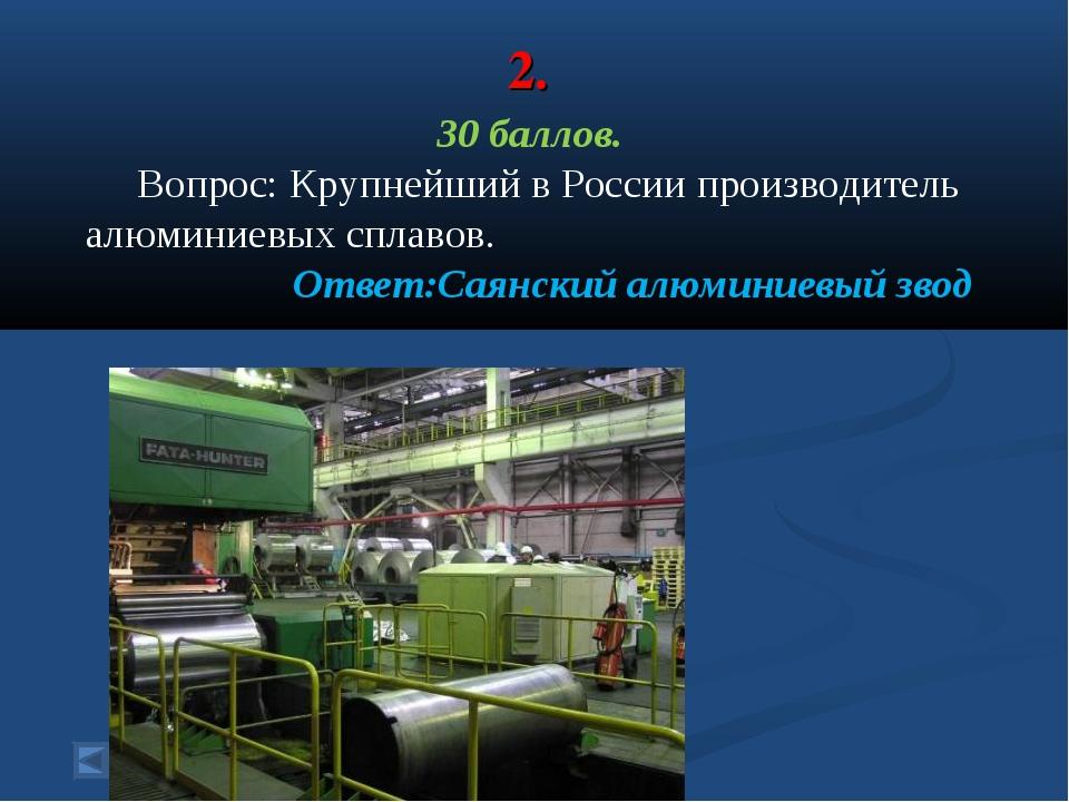 2. 30 баллов. Вопрос: Крупнейший в России производитель алюминиевых сплавов....