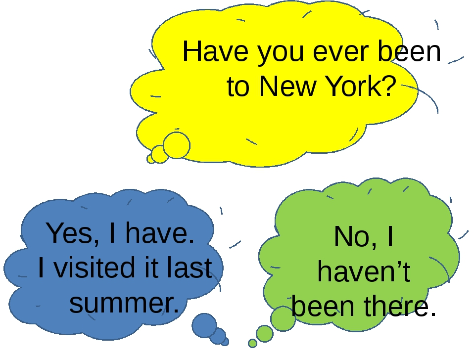 Have you ever been to New York? Yes, I have. I visited it last summer. No, I...