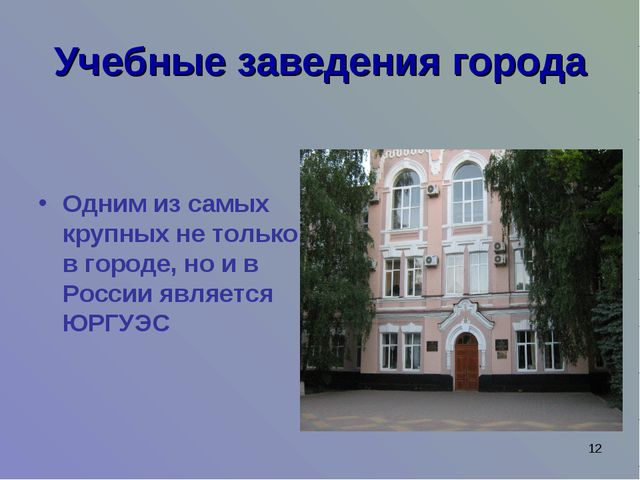 * Учебные заведения города Одним из самых крупных не только в городе, но и в...