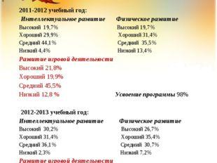 2011-2012 учебный год: Интеллектуальное развитие Физическое развитие Высокий