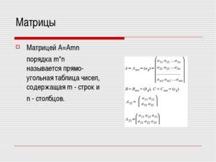 Матрицы МатрицейA=Amn порядка m*n называетсяпрямо-угольная таблица чисел,