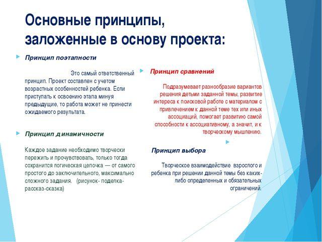 Основные принципы, заложенные в основу проекта: Принцип поэтапности Это самый...
